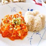 お豆腐のチリソース エビチリ風