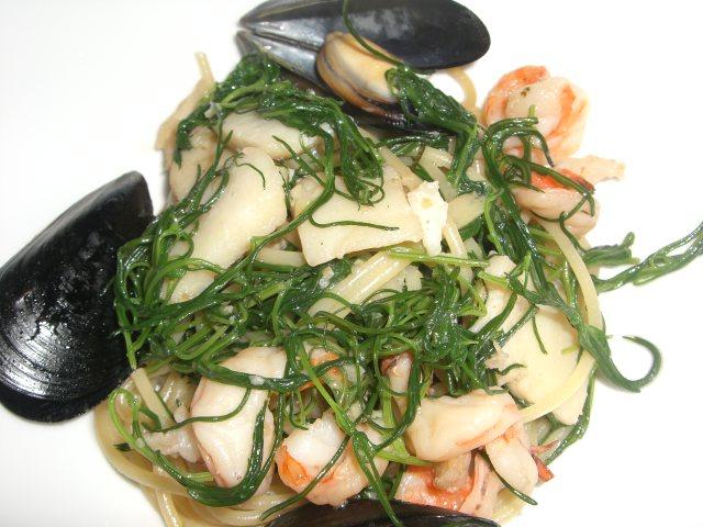 おかひじきと海の幸のスパゲッティー