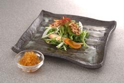水菜と根菜のハリハリサラダ 柚子ゼリーとともに