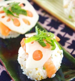サーモンと蓮根の手まり寿司
