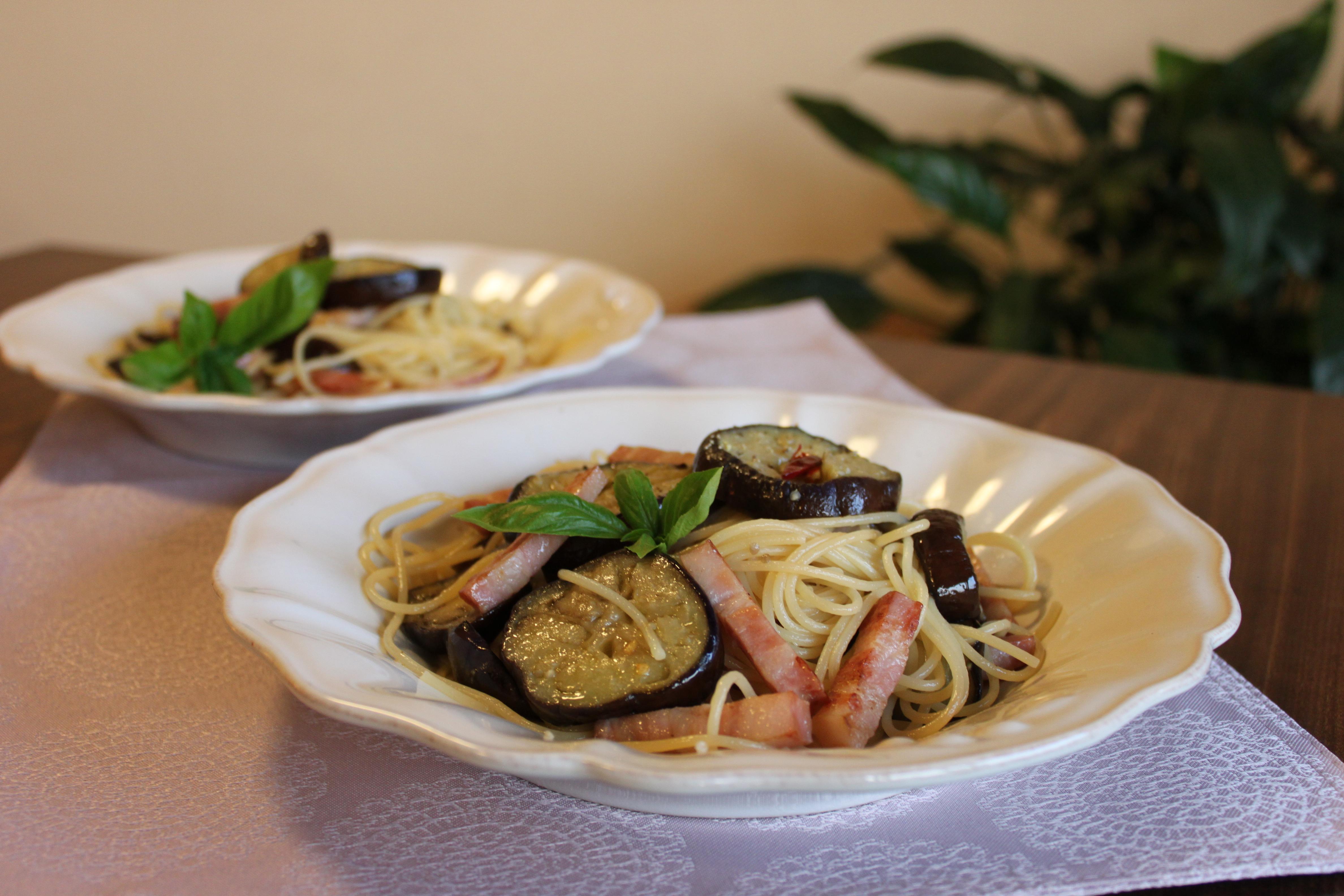 秋茄子とベーコンのスパゲティー
