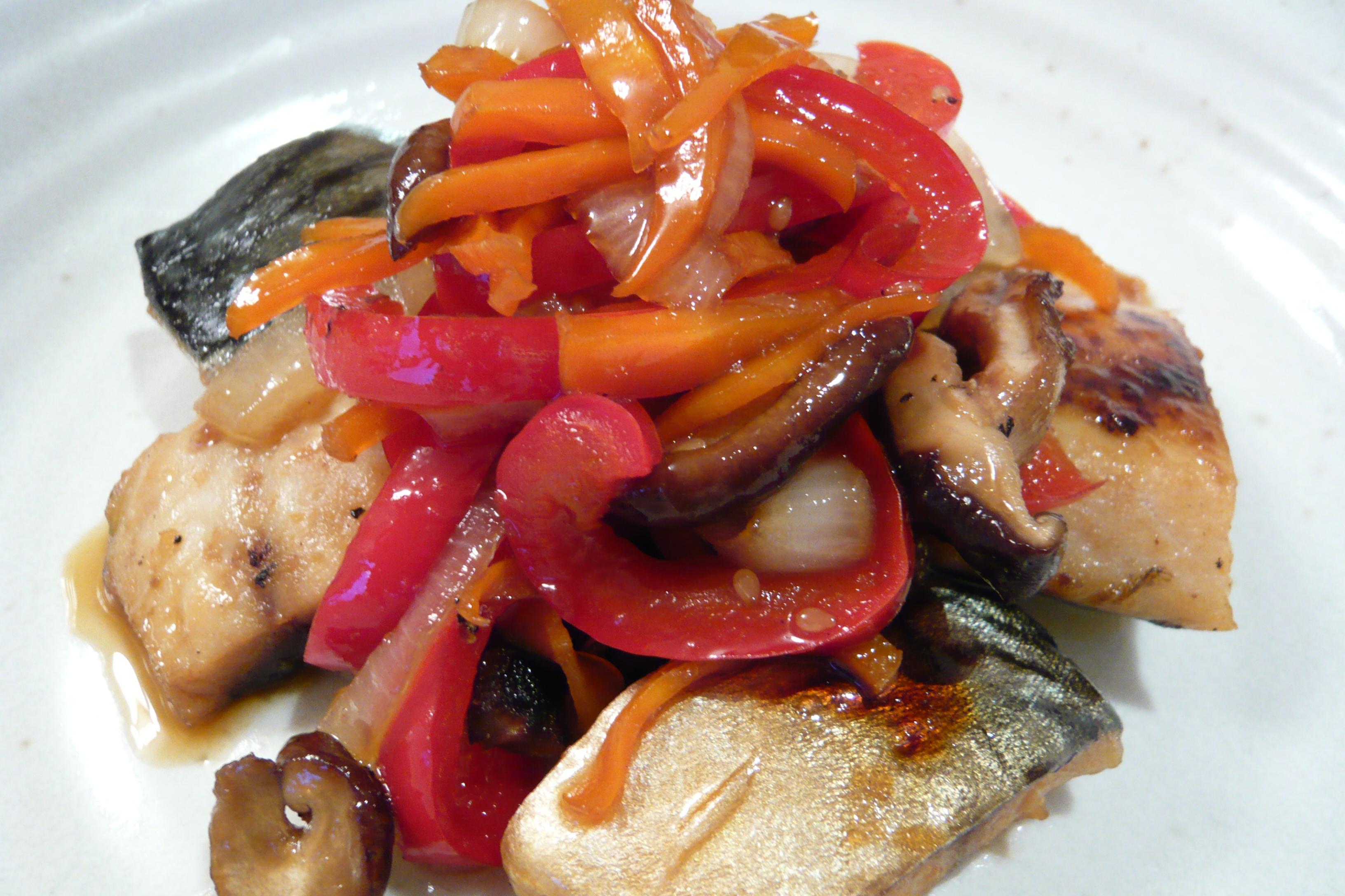 塩サバと野菜の焼肉のタレ煮込み