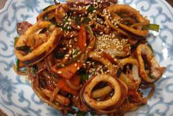 韓国風イカと夏野菜とキムチの炒め物