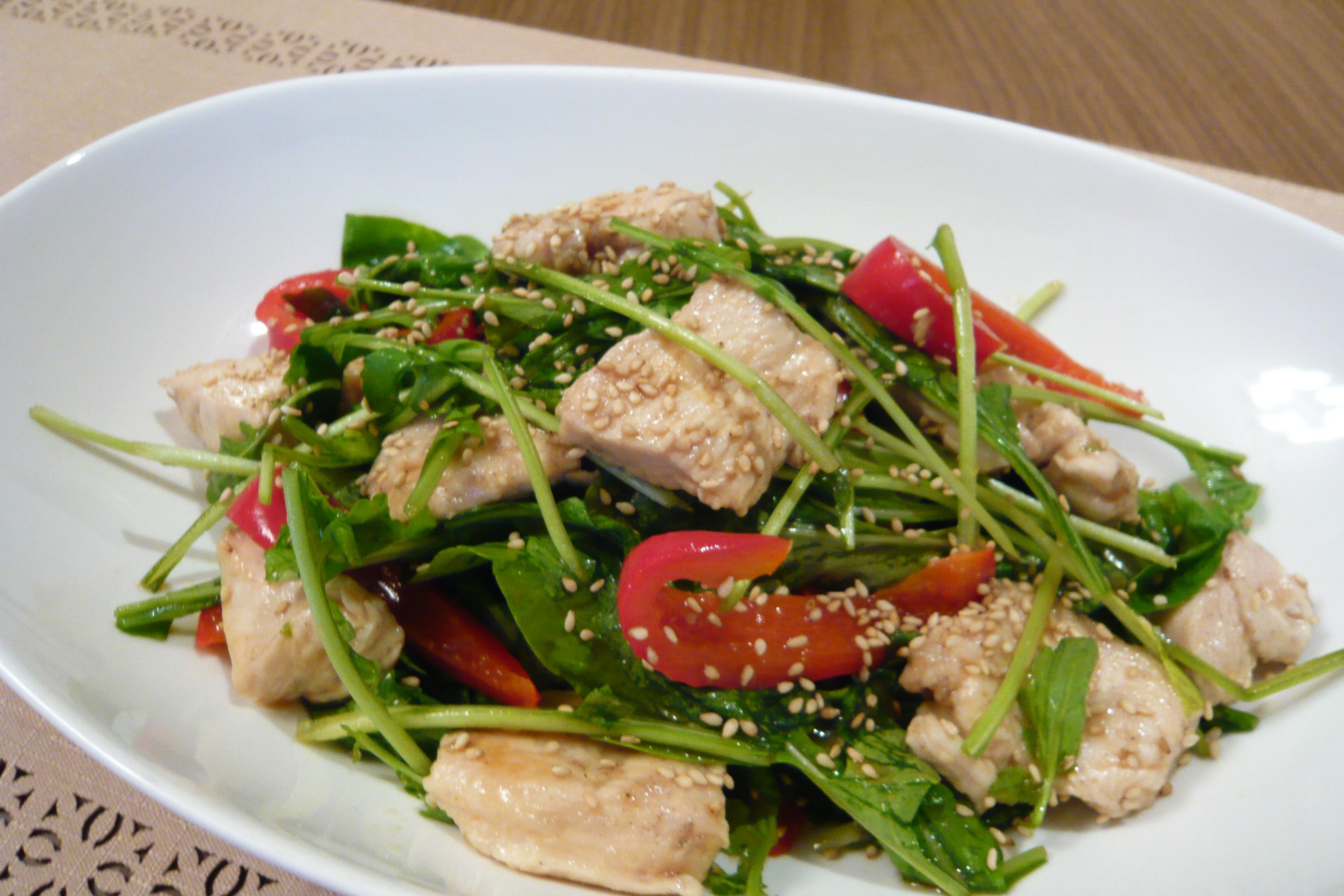ルッコラと鶏むね肉のサラダ仕立て