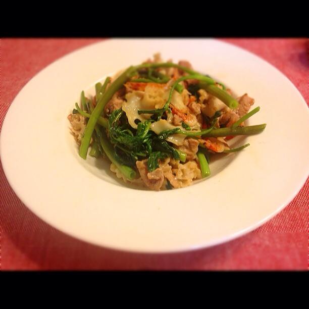 空芯菜と花ヒラタケのオイスター炒め