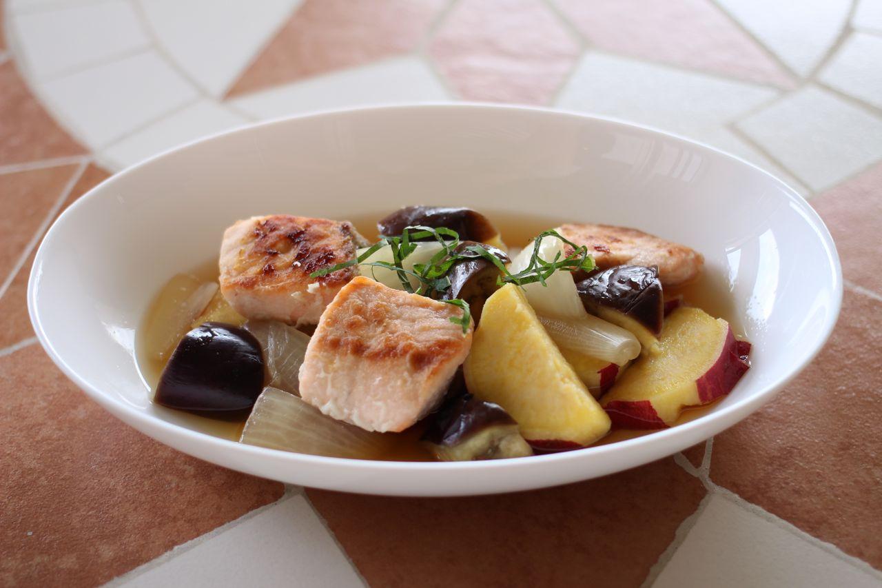 サーモンソテーと焼き野菜のマリネ