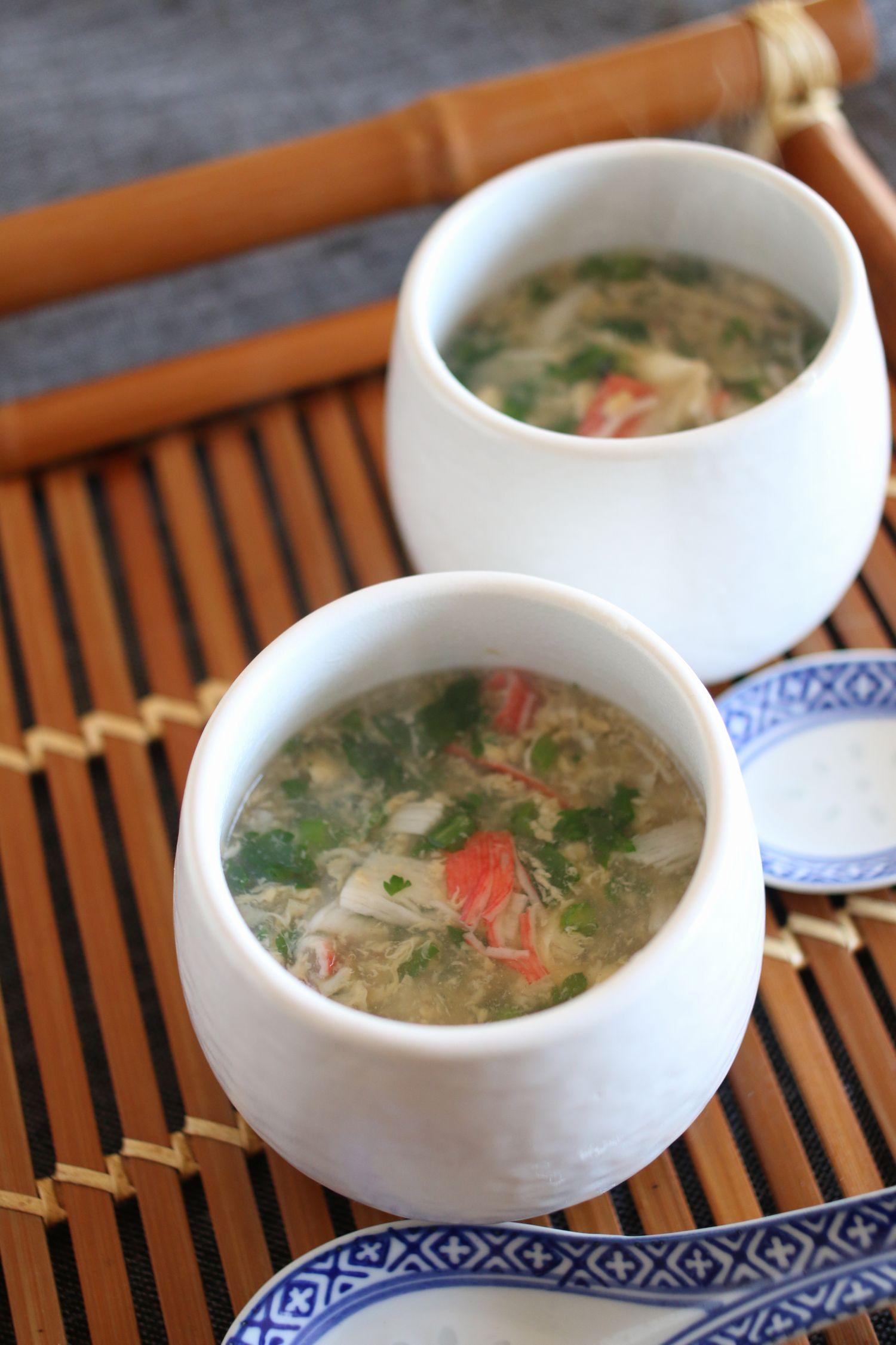 冬のあったかカニ玉春菊のスープ