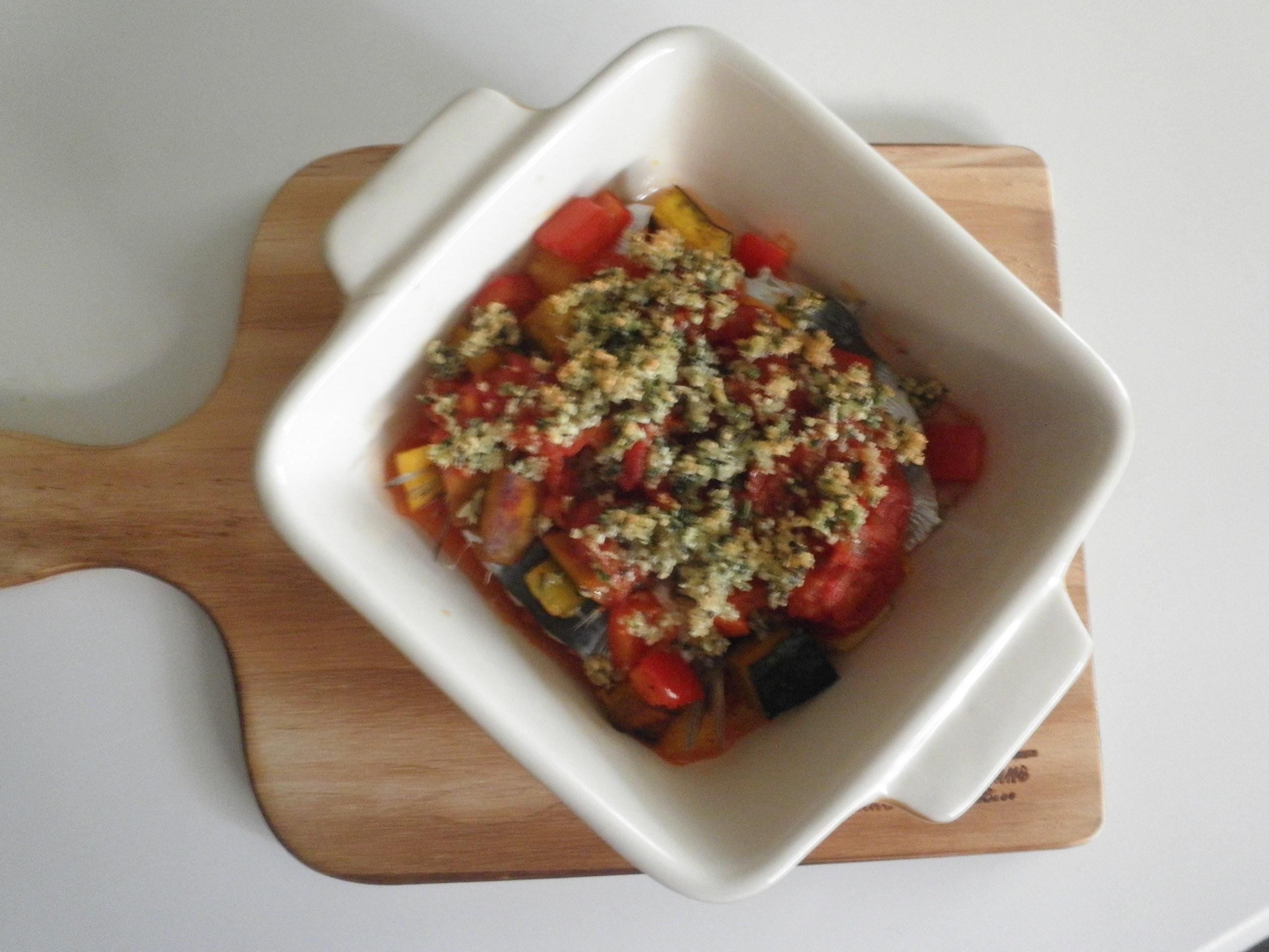 鰯と野菜の香草パン粉焼き