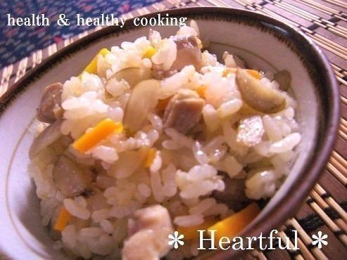 鶏とゴボウと玄米の炊き込みご飯
