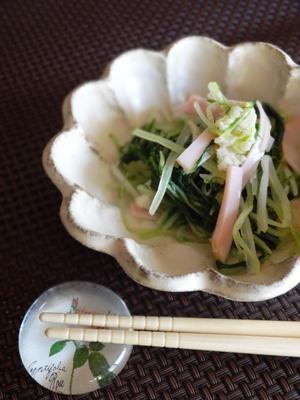 水菜とほたて缶の和え物