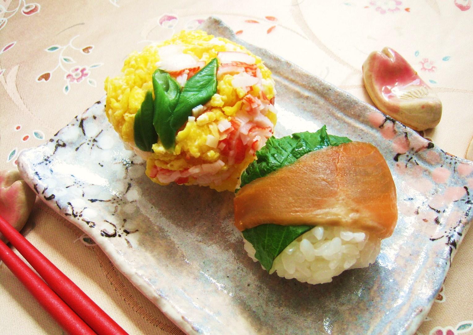 サーモン青じそ&カニかま炒り卵