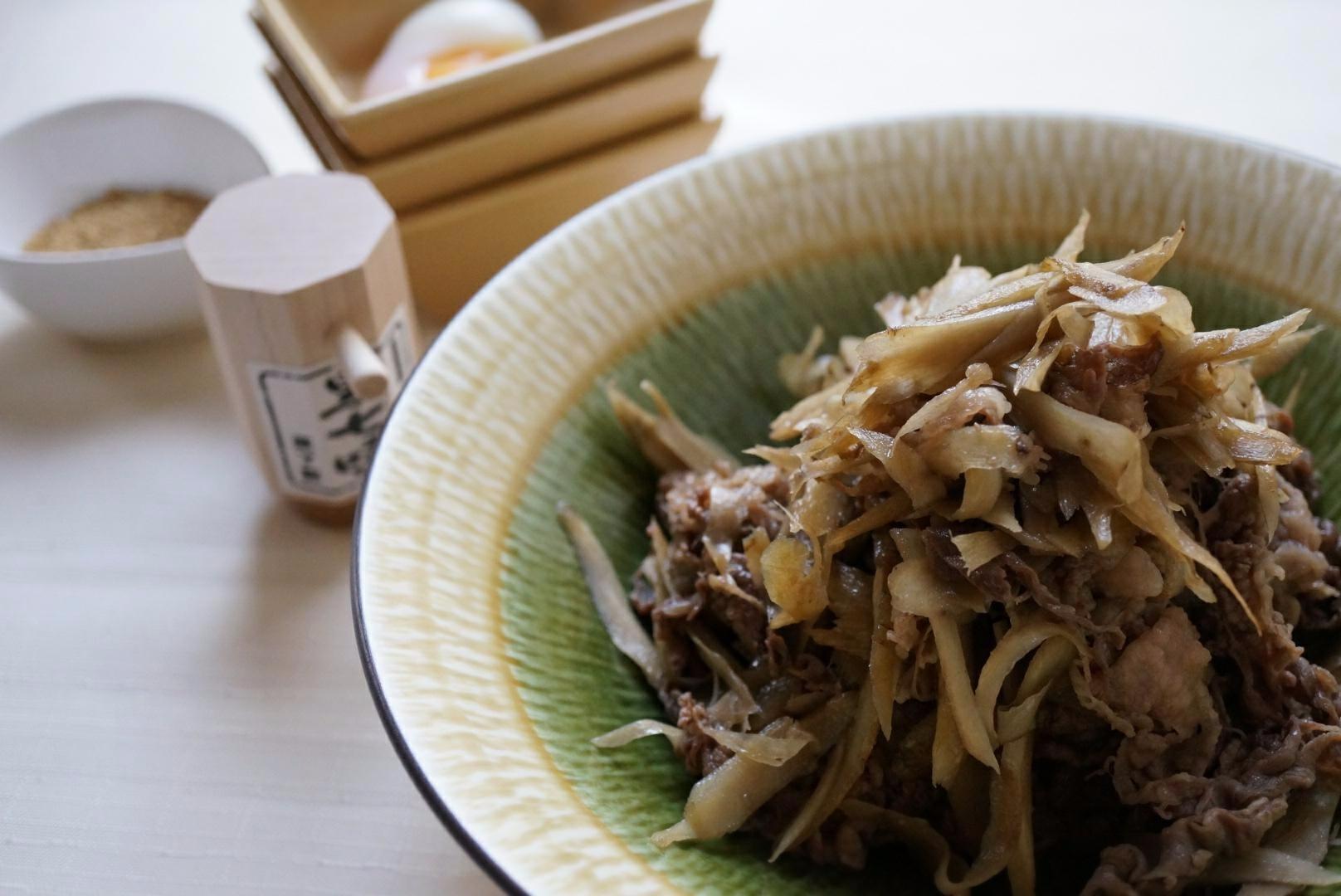 牛肉と牛蒡の炒め煮(テレビ収録用冷凍庫レシピ)