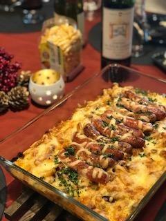 ポークチリビーンズとソーセージのオーブン焼き