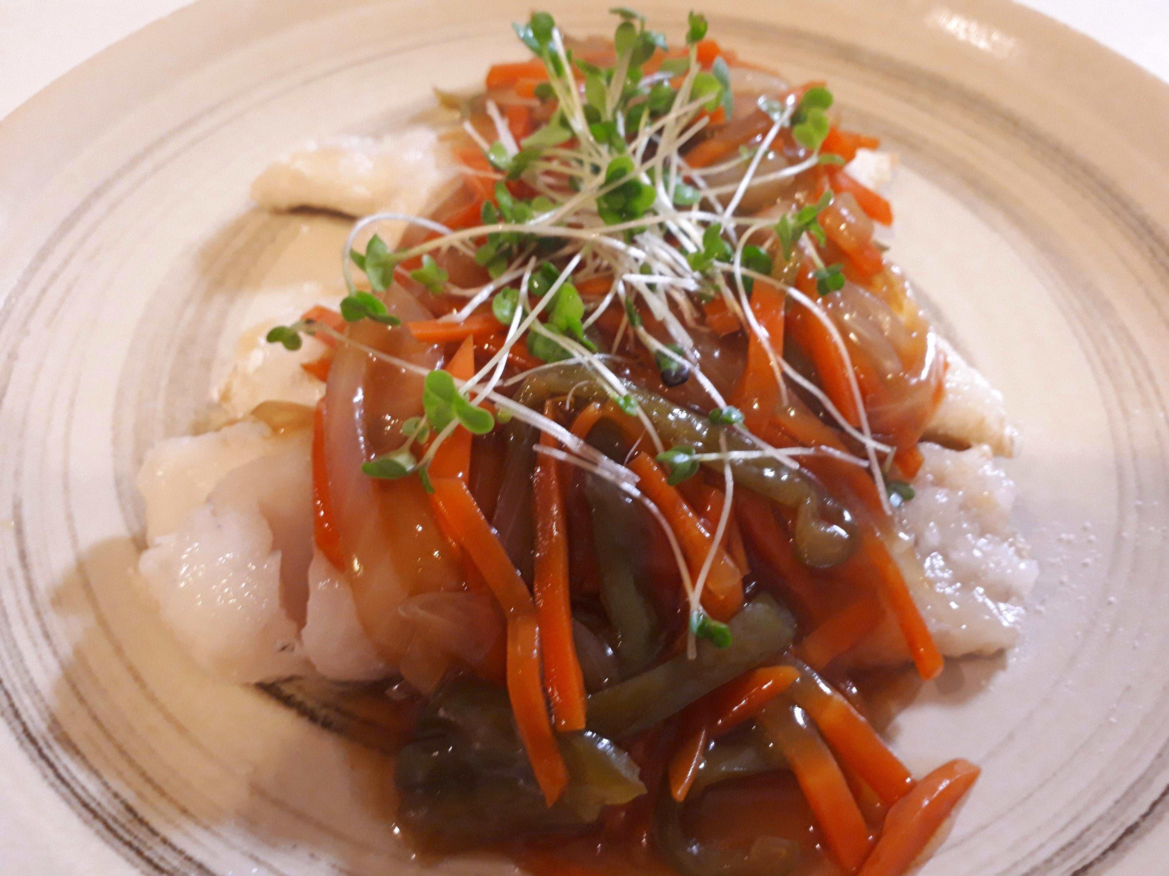 鱈の野菜甘酢あんのせ