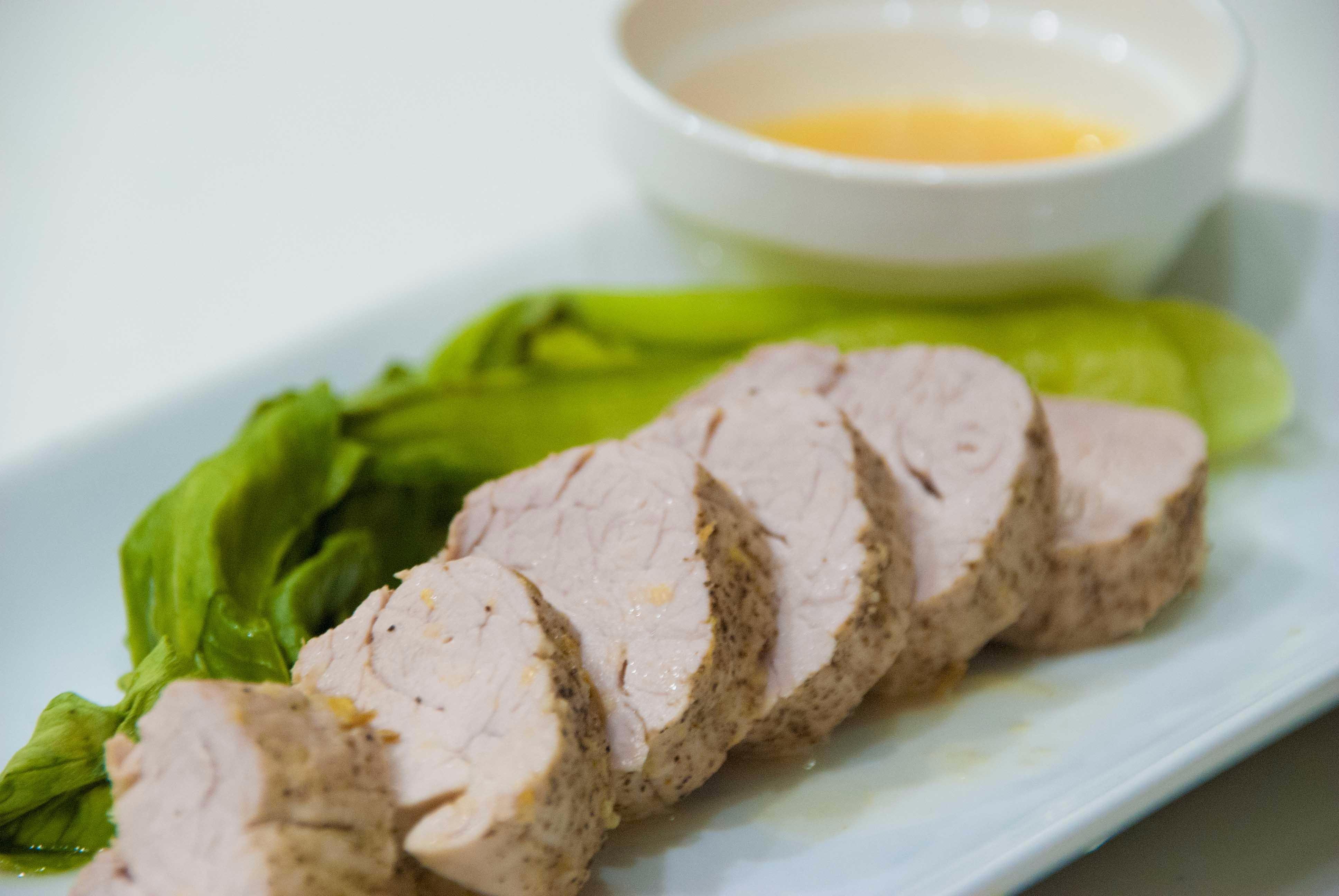 スパイシー豚ヒレ肉の甘夏ソース