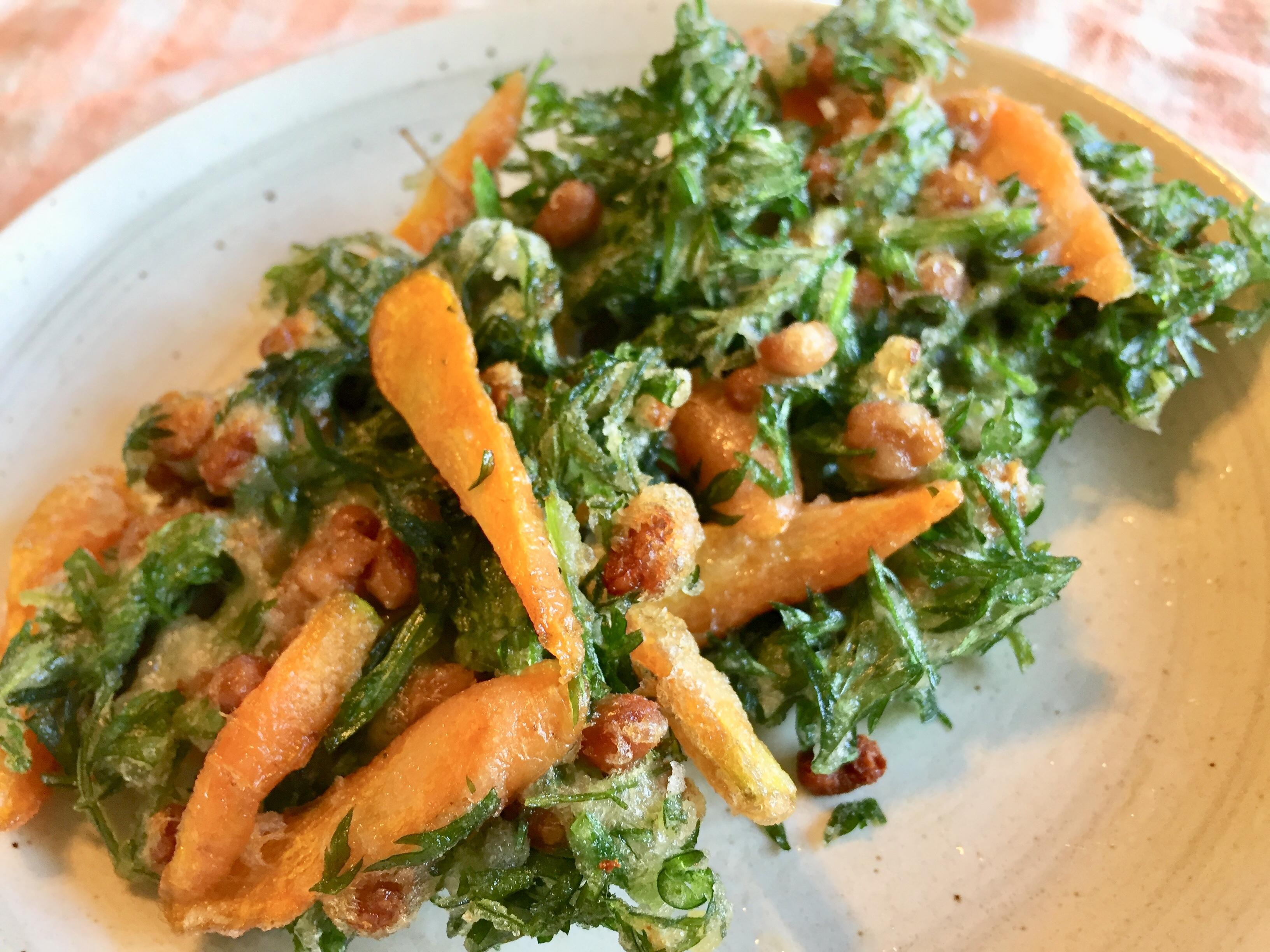 にんじん葉と納豆のかき揚げ